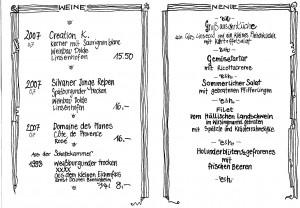 Speisekarte Kulturmenue Ernst & Heinrich