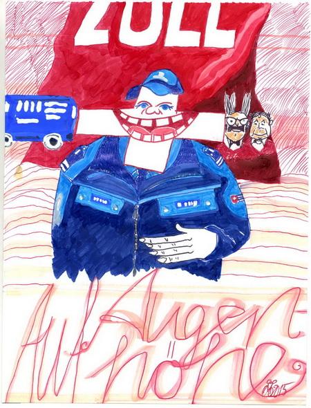Zeichnung: V. Onmir, Rabenkalenderrückseite 7.2. 2015