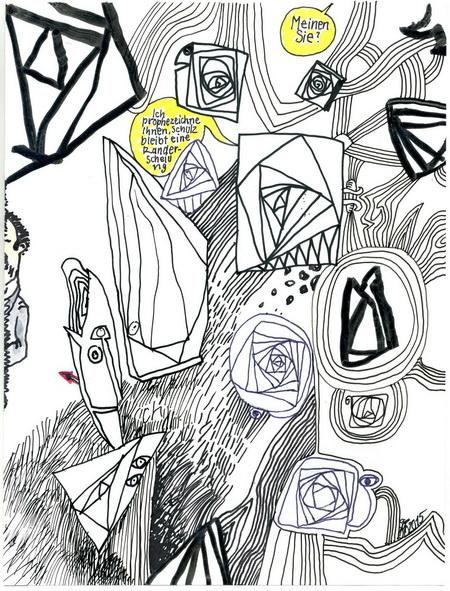 Zeichnung: V. Onmir, Rabenkalenderrückseite 23.2. 2015