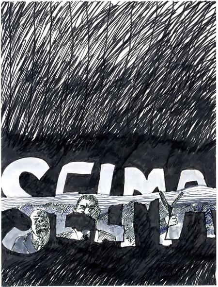 Zeichnung: V. Onmir, Rabenkalenderrückseite 7.3. 2015