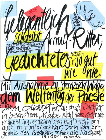 Zeichnung/Schrift: V. Onmir, Rabenkalenderrückseite 21.3. 2015