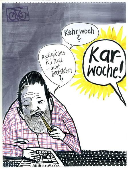 Zeichnung: V. Onmir, Rabenkalenderrückseite 2.4. 2015