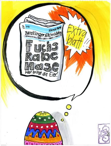 Zeichnung: V. Onmir, Rabenkalenderrückseite 6.4. 2015