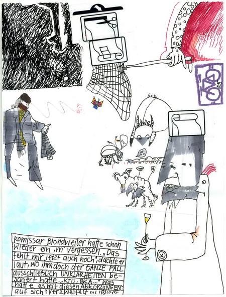 Zeichnung: Kriminalist V. Onmir, Rabenkalenderrückseite 7.5. 2015