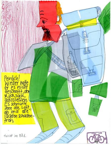 Zeichnung: Wanderfreund V. Onmir, Rabenkalenderrückseite 13.5. 2015