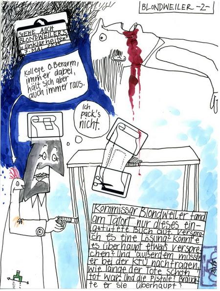 Zeichnung: Kriminalist V. Onmir, Rabenkalenderrückseite 16.5. 2015
