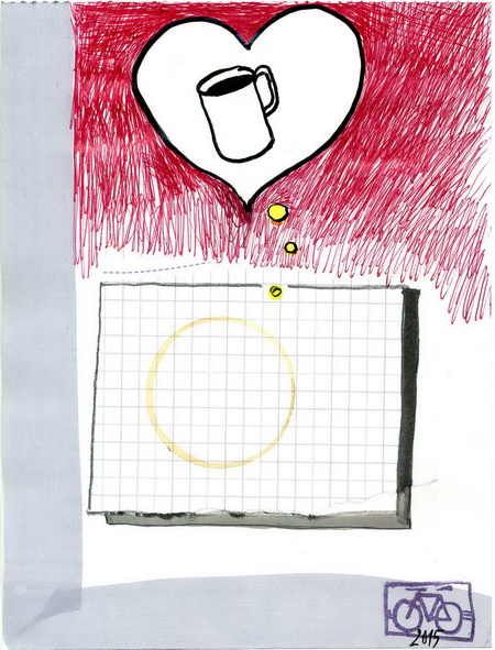 Zeichnung: Beziehungsversteher V. Onmir, Rabenkalenderrückseite 20.5. 2015