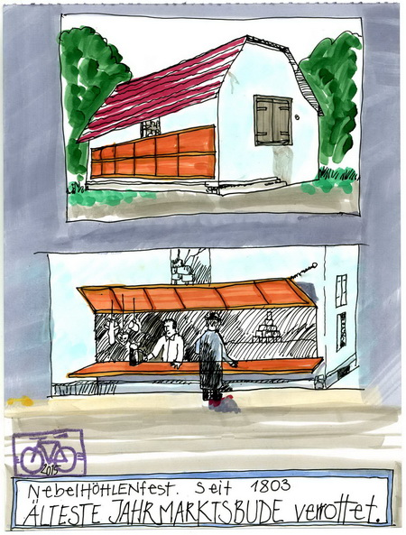 Zeichnung: Gebäuderetter V. Onmir, Rabenkalenderrückseite 25.5. 2015