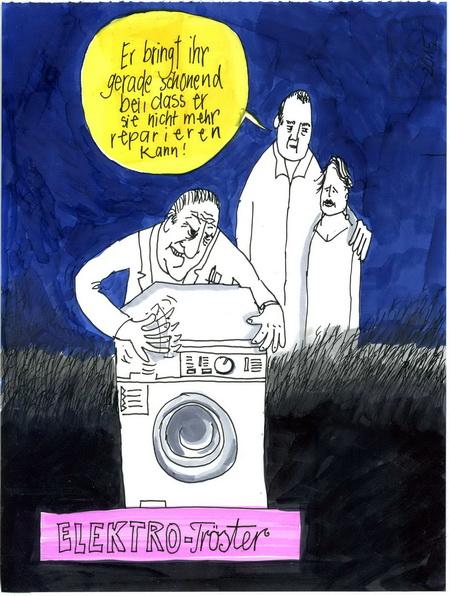 Zeichnung: Waschmaschinist V. Onmir, Rabenkalenderrückseite 9.6. 2015