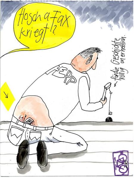 Zeichnung: Etikette-Freund V. Onmir, Rabenkalenderrückseite 10.6. 2015