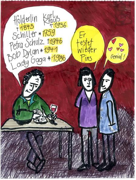 Zeichnung: PINForscher V. Onmir, Rabenkalenderrückseite 12.6. 2015