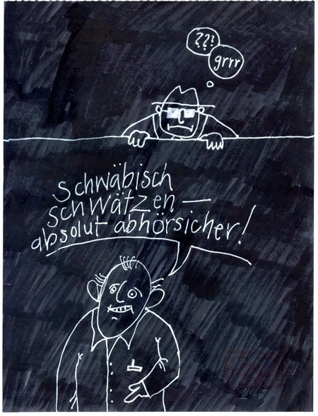 Zeichnung: Sicherheitsexperte V. Onmir, Rabenkalenderrückseite 14.6. 2015