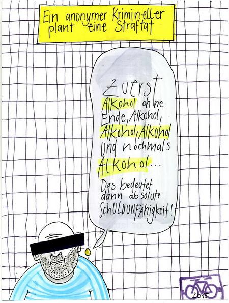Zeichnung: Urteilnichtversteher V. Onmir, Rabenkalenderrückseite 20.6. 2015