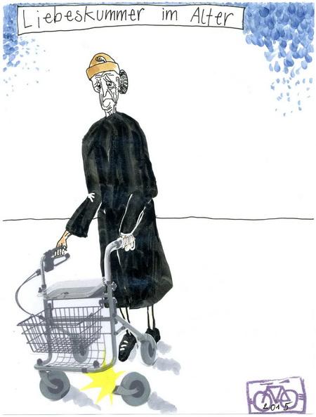 Zeichnung: Seniorenversteher V. Onmir, Rabenkalenderrückseite 20.7. 2015