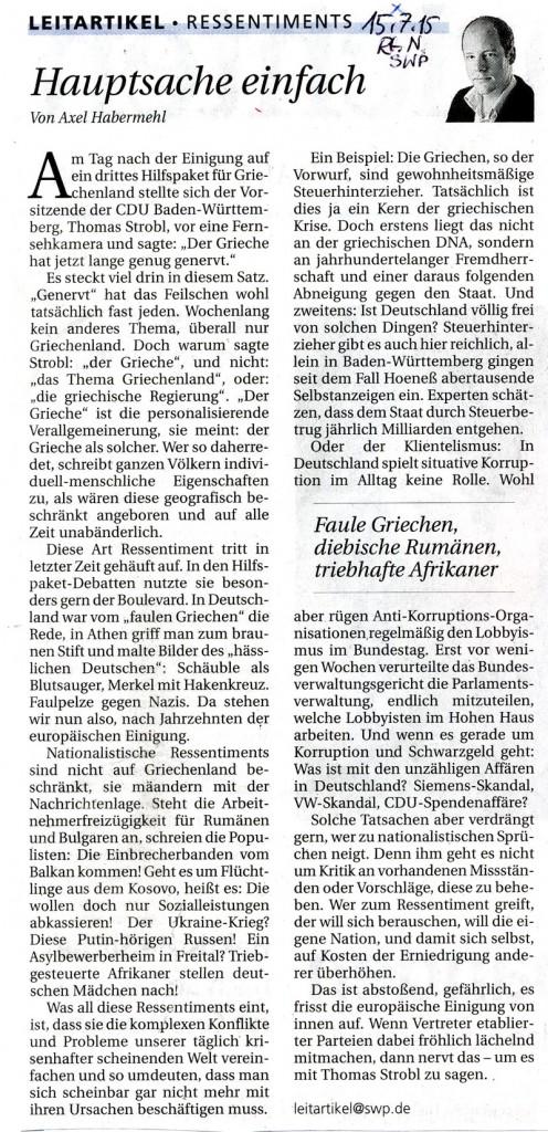 Reutlinger Nachrichten/Südwestpresse 15.7. 2015