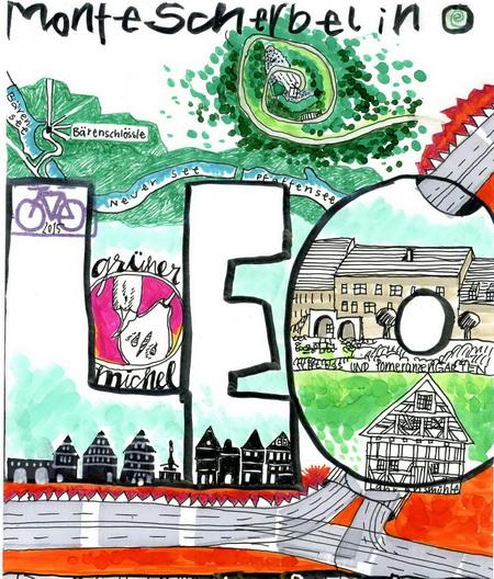 Zeichnung (Ausschnitt): LEO-Fan V. Onmir, Rabenkalenderrückseite 14.8. 2015