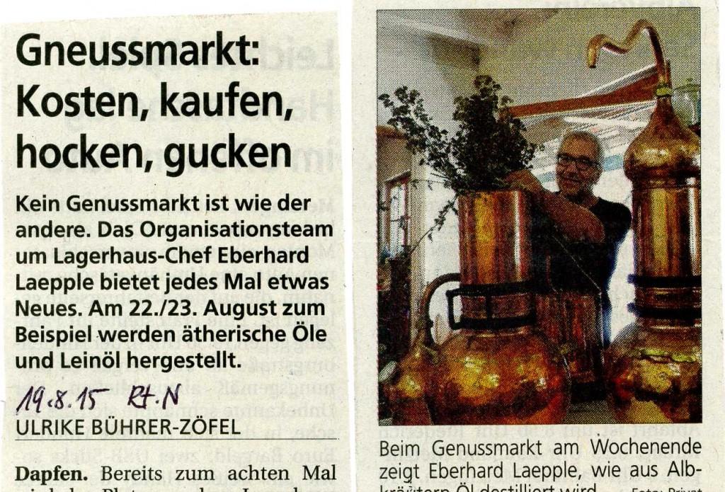 Reutlinger Nachrichten 19.8. 2015