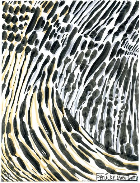 Zeichnung: Haarträger V. Onmir, Rabenkalenderrückseite 27.7. 2015