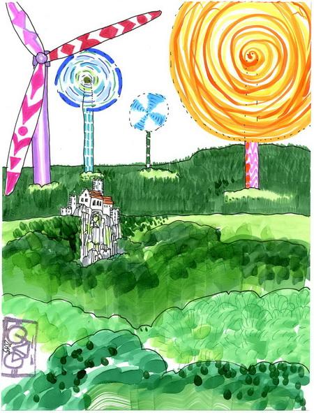 Zeichnung: Windradbefürworter V. Onmir, Rabenkalenderrückseite 30.7. 2015