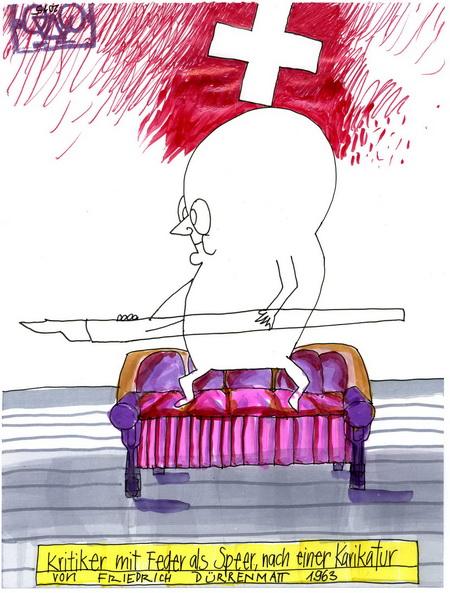 Zeichnung: V. Onmir, nach einer Zeichnung von Friedrich Dürrenmatt: V. Onmir 6.8. 2015