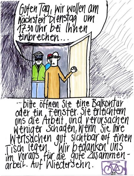 Zeichnung: Gefahrenerkenner V. Onmir, Rabenkalenderrückseite