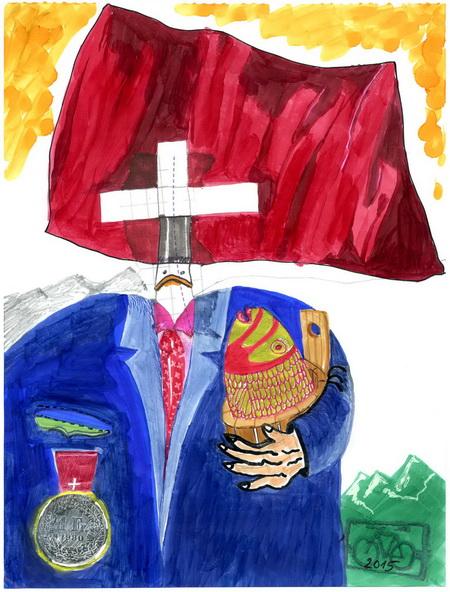 Zeichnung: V. Onmir, Rabenkalenderrrückseite 10.8. 2015