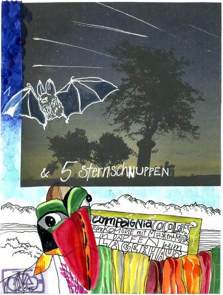 Zeichnung: Schnuppenzähler V.  Onmir, Rabenkalenderrückseite 12.8. 2015