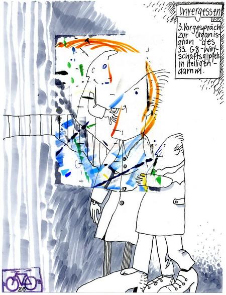 Zeichnung: Checker V. Onmir, Rabenkalenderrückseite 17.8. 2015