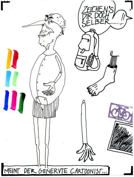 Zeichnung: V. Onmir, Rabenkalenderrückseite 18.8. 2015