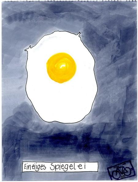 Zeichnung: Eiergourmet V. Onmir, Rabenkalenderrückseite 19.8. 2015
