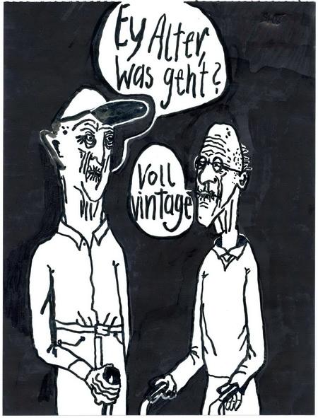 Zeichnung: Gerontosozialpädagoge V. Onmir, Rabenkalenderrückseite 21.8. 2015