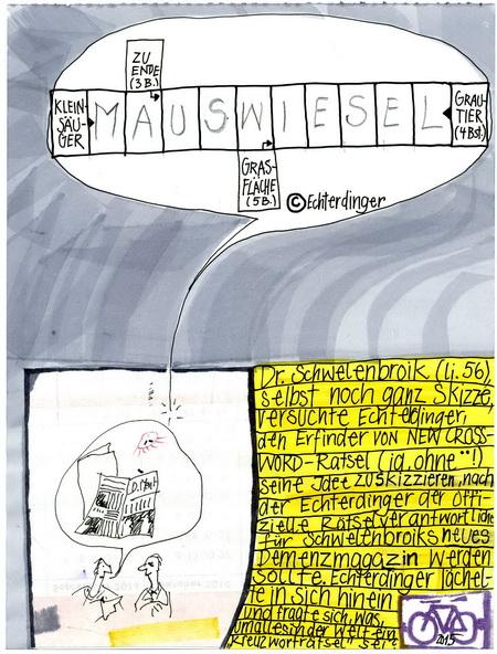 Zeichnung: Versteher V. Onmir, Rabenkalenderrückseite 22.8. 2015