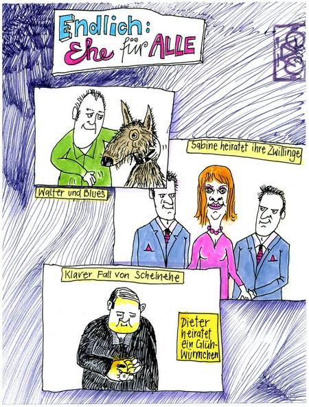 Zeichnung: Eheberater V. Onmir, Rabenkalenderrückseite 23.8. 2015