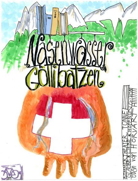 Zeichnung: Mundartforscherle V. Onmir, Rabenkalenderrückseite 2.8. 2015