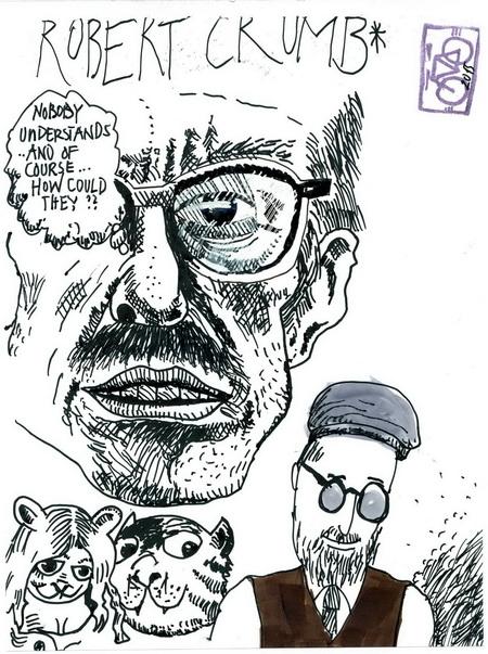 Zeichnung: Nach Crumbvorlagen CrumbFan V. Onmir, Rabenkalenderrückseite 30.8. 2015