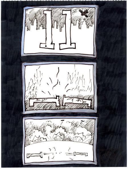 Zeichnung: V. Onmir, Rabenkalenderrückseite 11.9. 2015