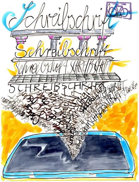 Zeichnung: Schreibschriftsüchtling V. Onmir, Rabenkalenderrückseite 12.9. 2015