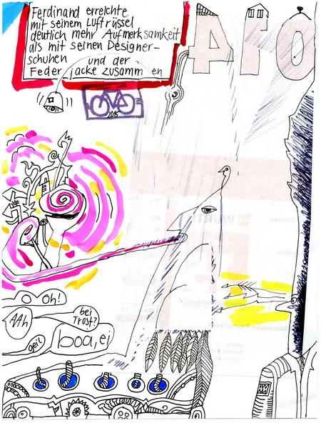 Zeichnung: Artistenfan V. Onmir, Rabenkalenderrückseite 15.9. 2015