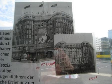 Infotafel: rechts das Kreditkaufhaus Jonass, links SED Parteizentrale 1946-1957