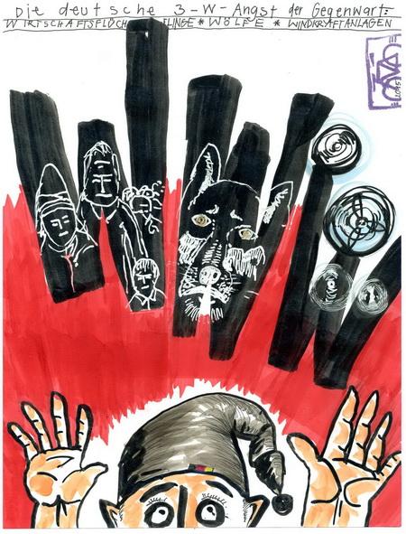 Zeichnung: Angsthasenbeobachter V. Onmir, Rabenkalenderrückseite 18.9.2015