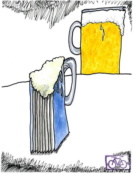 Zeichnung: Bierleser V. Onnmir, Rabenkalenderrückseite 15.10.2015