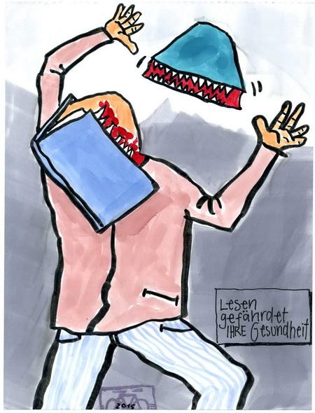 Zeichnung: Warner V. Onmir, Rabenkalenderrückseite 24.10.2015