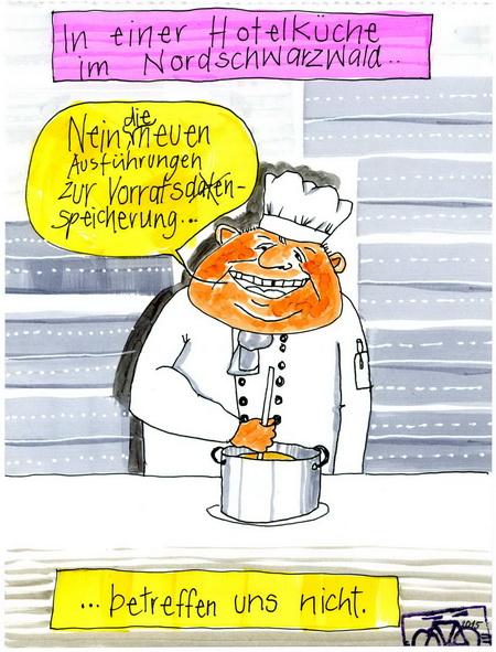 Zeichnung: Gastrokritiker V. Onmir, Rabenkalenderrückseite 5.11.2015