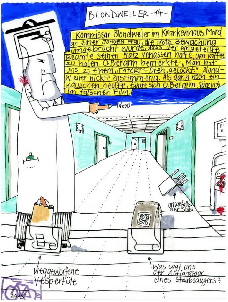 Zeichnung: Hobbykommissar V. Onmir, Rabenkalenderrückseite 18.10.2015