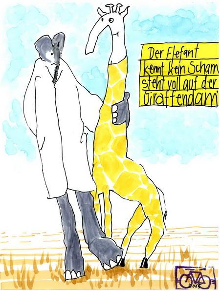 Zeichnung: Serengeti-Verehrer V. Onmir, Rabenkalenderrückseite 20.12.2015
