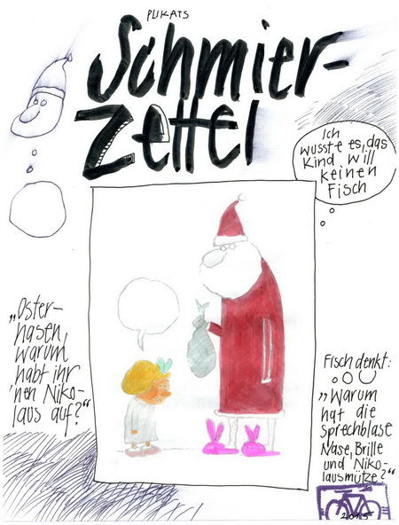 Zeichnung: Entdecker V. Onmir, Rabenkalenderrückseite 24.12.2015