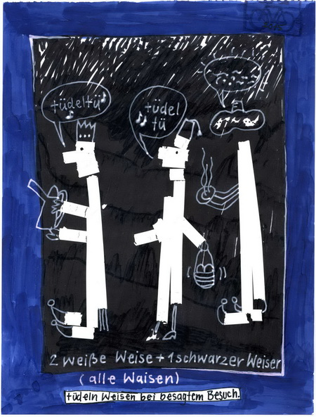 Zeichnung: Morgenlandforscher V. Onmir, Rabenkalenderrückseite 26.12.2015