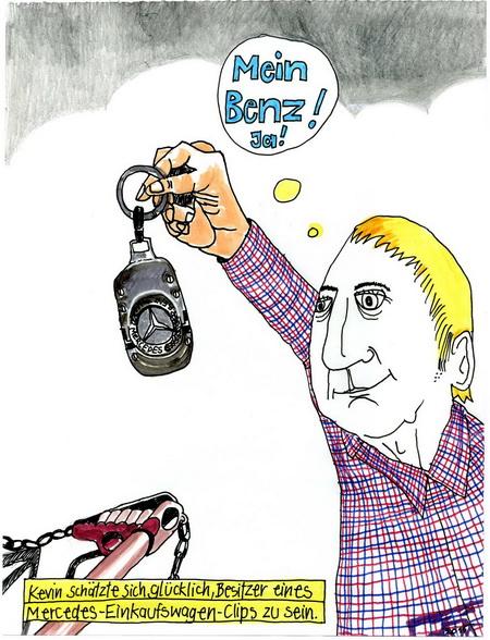 Zeichnung: Möchtegernbenzfahrer: Kevin V. Onmir, Rabenkalenderrückseite 28.12.2015