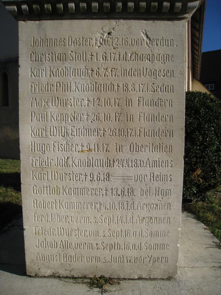 Kriegerdenkmal I. Weltkrieg: Besonderheit: Nennung der Todesorte der Gefallenen