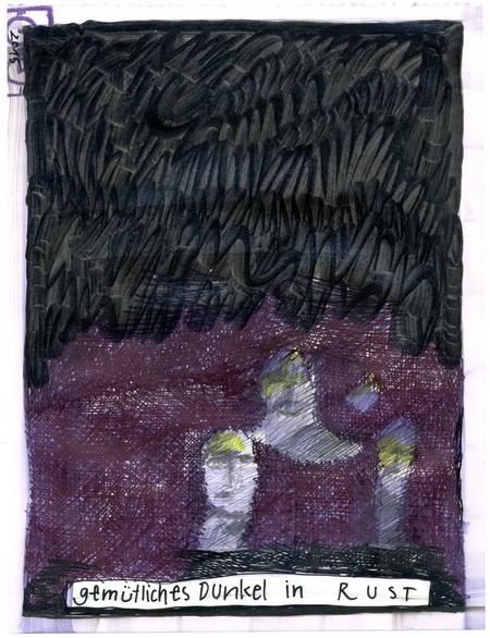 Zeichnung: Lichtfreund V. Onmir, Rabenkalenderrückseite 31.12.2015